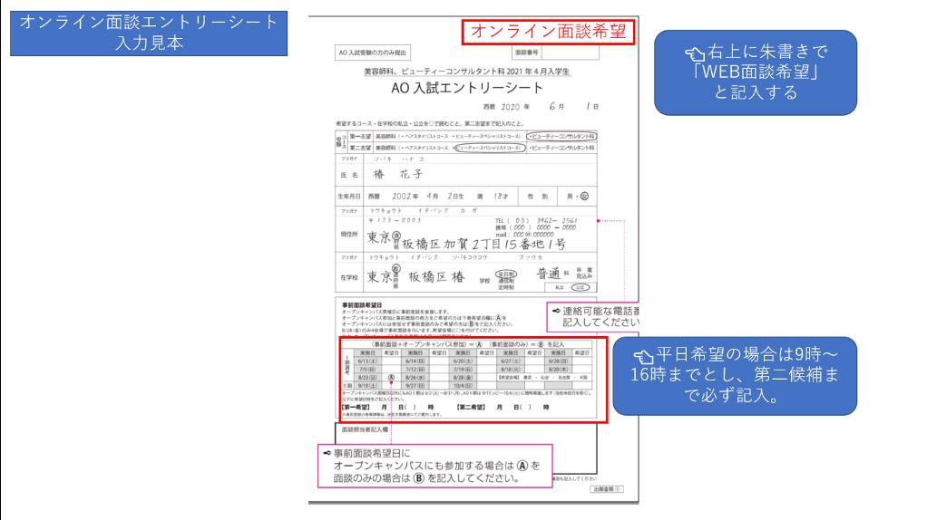エントリー シート 入試 Ao